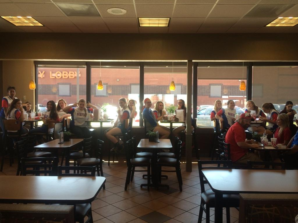 Softball stops for food on their way to the playoffs game. Heritage took a loss with the final score ending as 13-0.