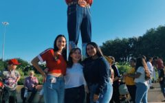 Students spend their fair day with Big Tex.   Photo Provided By: Cyllia Alvarado