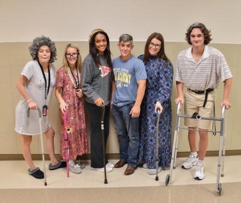 Seniors celebrate by dressing up for senior citizen day.